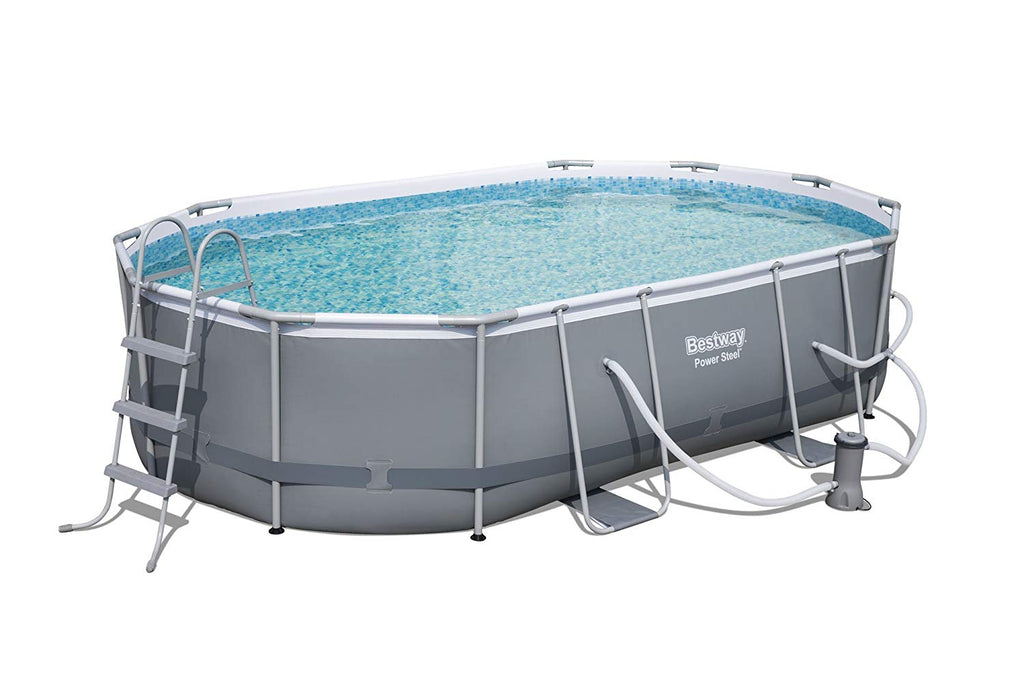 "Power Steel 16' x 10' x 42"" Oval Frame Swimming Pool Set with Filter Pump, Ground Cloth, Pool Cover and Ladder"