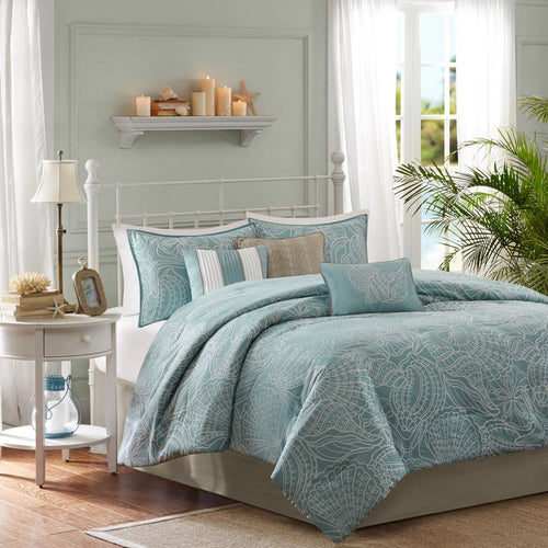 Madison Park Carmel Queen Size Bed Comforter Set Bed in A Bag - Teal, Jacquard Coastal Seashells – 7 Pieces Bedding Sets – Ultra Soft Microfiber Bedroom Comforters