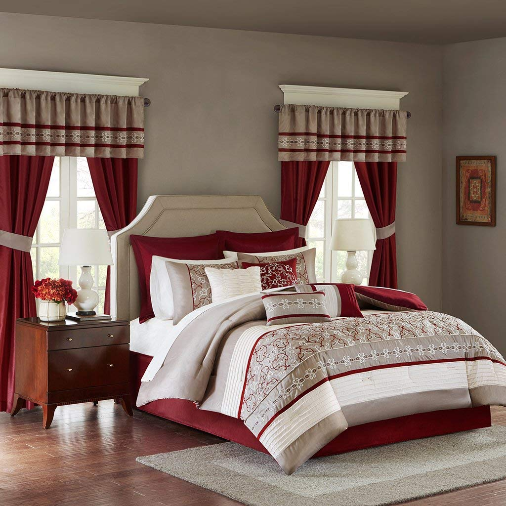 Madison Park Essentials Jelena Queen Size Bed Comforter Set Room in A Bag - Burgundy, Khaki, Embroidered Vine Pattern – 24 Pieces Bedding Sets – Faux Silk Bedroom Comforters