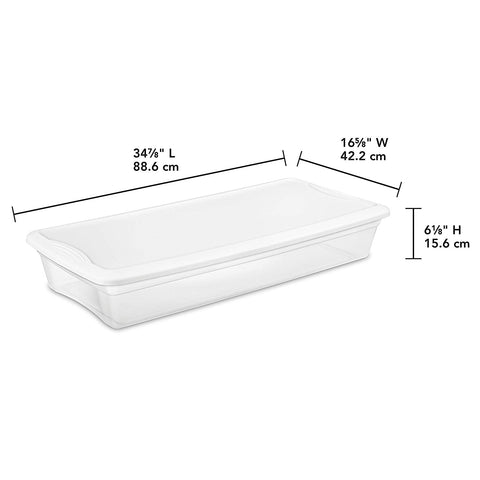 STERILITE 19608006 41 Quart/39 Liter Underbed Storage Box, Clear with White Lid, 6-Pack