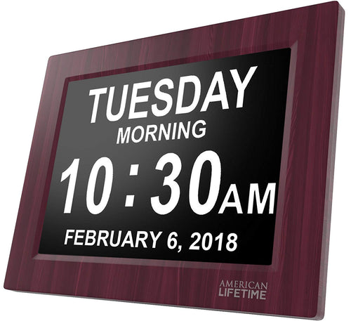 Day Clock - Extra Large Impaired Vision Digital Clock with Battery Backup & 5 Alarm Options (Premium Mahogany Color)