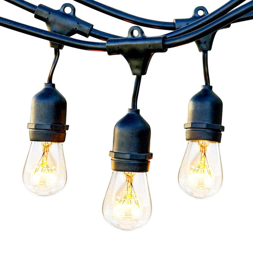 Brightech Ambience Pro Waterproof Outdoor String Lights with Vintage Hanging Edison Bulbs: 48 Ft Commercial Grade Patio/Gazebo Lights - Great For Cafe/Bistro Ambience In Your Garden – Black