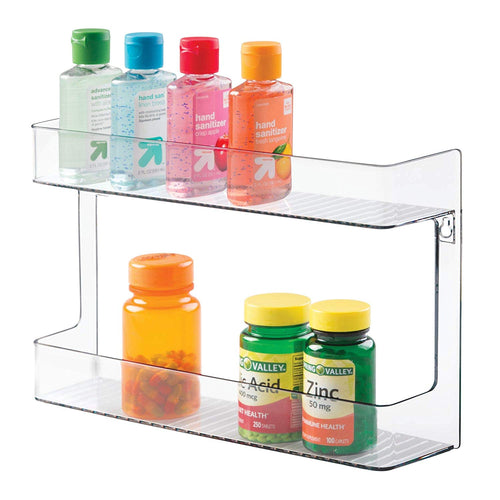 mDesign Wall Mount Shampoo, Soap, Lotion, Beauty Products Storage Holder - 2 Shelves, Clear