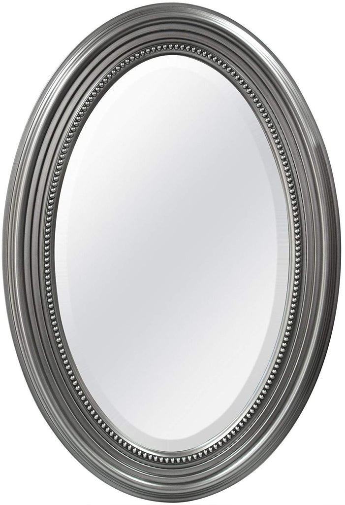 MCS Beaded Oval Wall Mirror, 21x31 Inch Overall Size, Silver (20457)