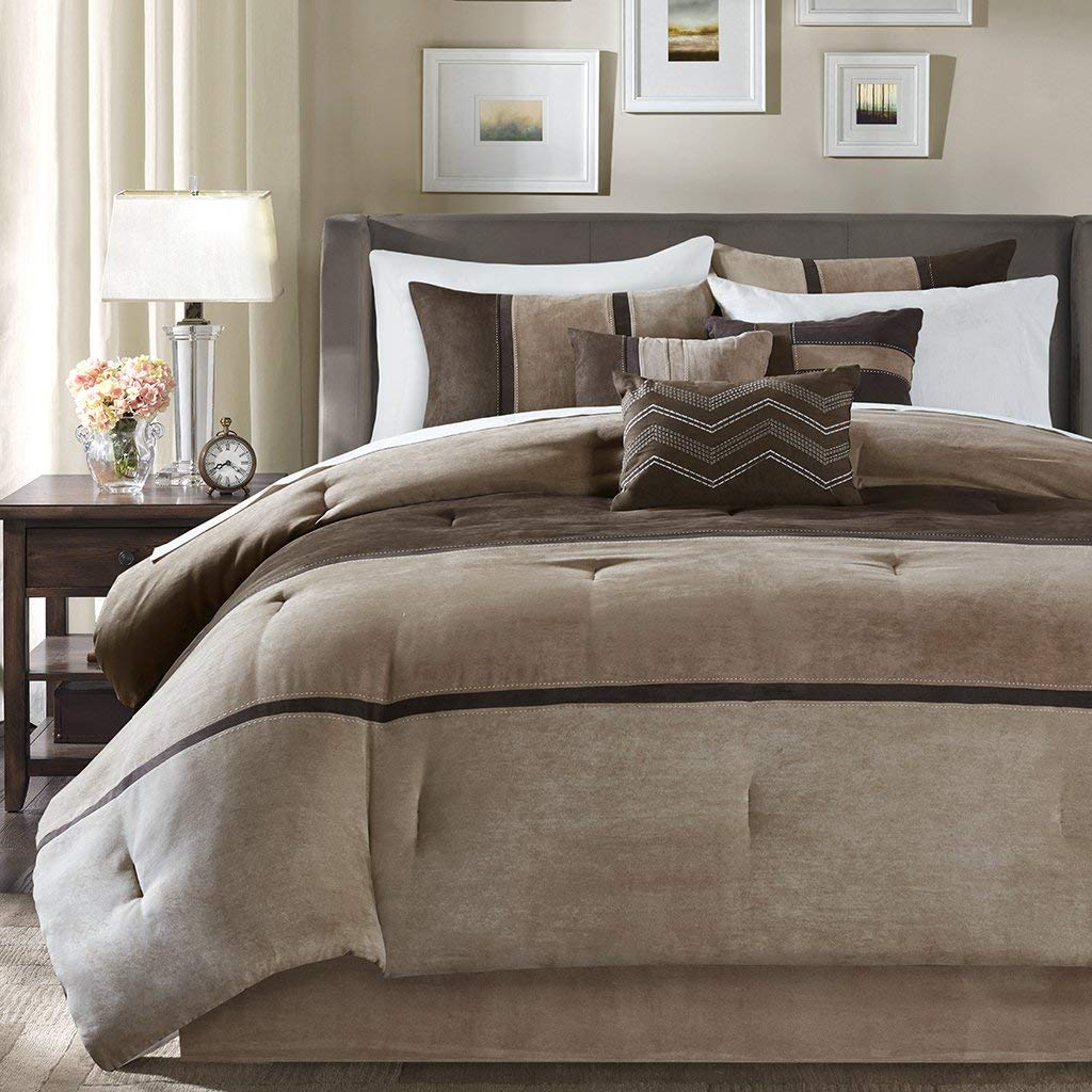 Madison Park Palisades Queen Size Bed Comforter Set Bed in A Bag - Brown, Taupe, Pieced Stripe – 7 Pieces Bedding Sets – Micro Suede Bedroom Comforters