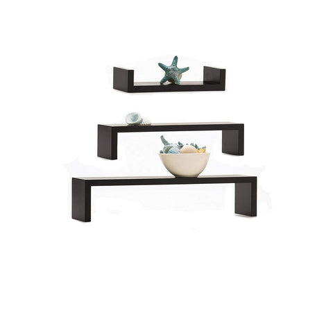 MELANNCO Espresso Nesting U Shelves Set, Espresso, Set of 3