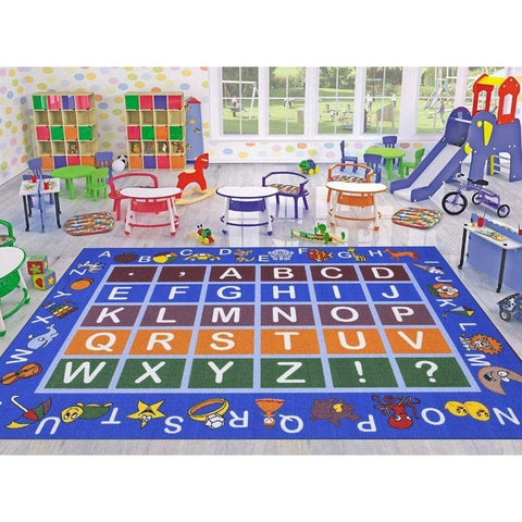 "Ottomanson Jenny Collection Light Blue Frame Multi Colors Kids Children's Educational Alphabet (Non-Slip) Area Rug, Blue, 3'3"" X 5'0"""