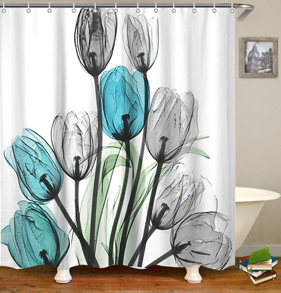 "Livilan Shower Curtain Set with 12 Hooks Floral Bath Curtain Thick Fabric Bathroom Curtains Home Decorations for Bathroom White Blue Grey Tulip Flower Shower Curtain 72""x 72"""