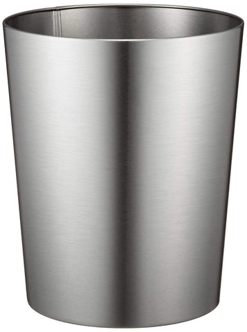 InterDesign Patton Wastebasket Trash Can for Bathroom, Office, Kitchen - Brushed Stainless Steel