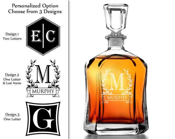 Bormioli Rocco Capitol Decanter 23.75 Oz - Engraved Monogram Personalized