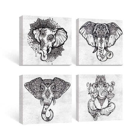 SUMGAR Black and White Wall Art for Living Room Framed Prints of Mandala Elephant Paintings on Canvas