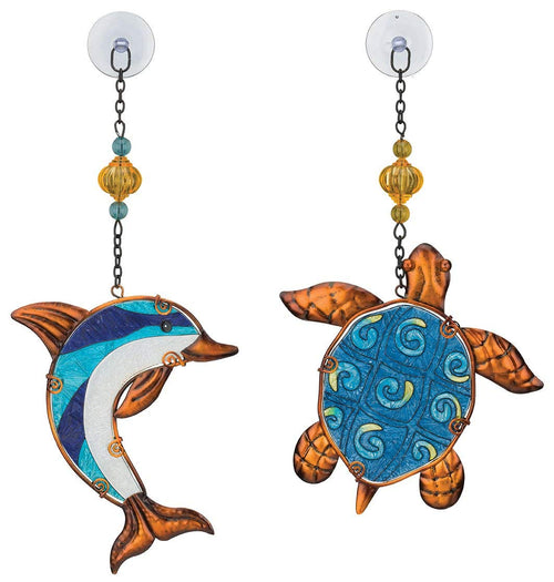 Regal Art & Gift Suncatchers, Blue Dolphin & Turtle Glass Sun Catcher for Home, Garden, Window and Wall Art