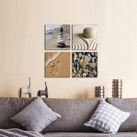 Wieco Art Romantic Beach Theme 4 Piece Modern Giclee Artwork Sea Beach Ocean Canvas Prints Contemporary Abstract Seascape Pictures Paintings on Canvas Wall Art for Bedroom Home Decorations