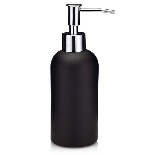 EssentraHome Matte Black Soap Dispenser with Chrome Metal Pump for Bathroom, Bedroom or Kitchen. Also Great for Hand Lotion and Essential Oils.