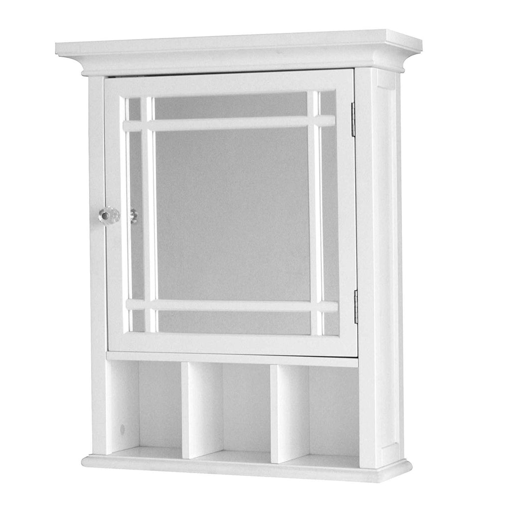 Elegant Home Fashions Collection Modern Styling Medicine Cabinet in White, Features a Mirrored Door
