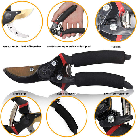EONLION Pruning Shears, 8 Inch Professional Sharp Bypass Garden Shears, Hand Pruner, Tree Trimmers Secateurs, Clippers, High-Carbon Steel, Premium Titanium