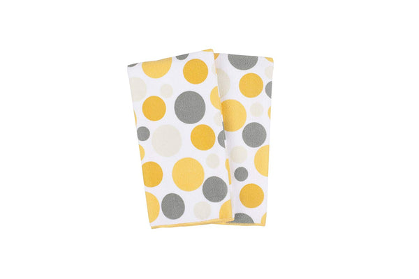"Ritz Royale Collection 100% Polyester Microfiber, Multi-Purpose, Polka Dot Print Kitchen Towel Set, 25"" x 16"", 2-Pack, Daffodil Yellow"