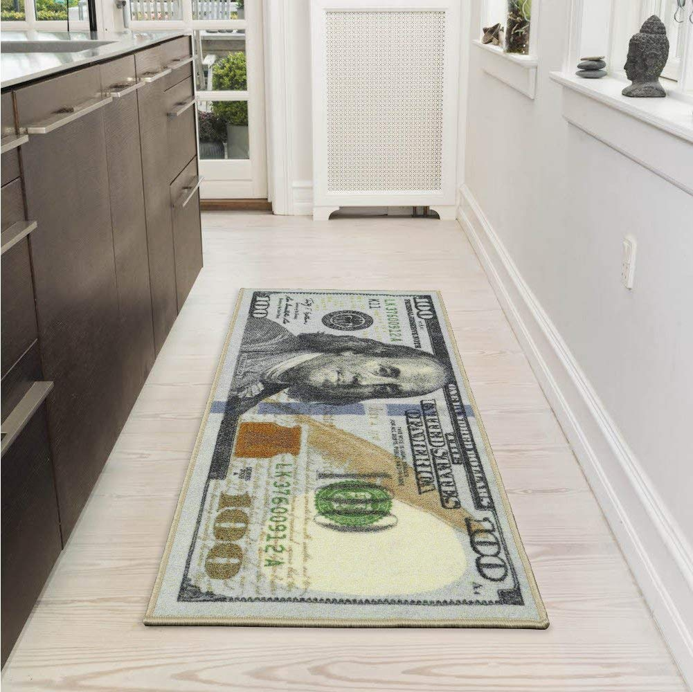 Ottomanson New Rugs One Hundred Dollar ($100) Bill Print New Benjamin Non-Slip Area Rug Runner, 22'' x 53'', Multi Color