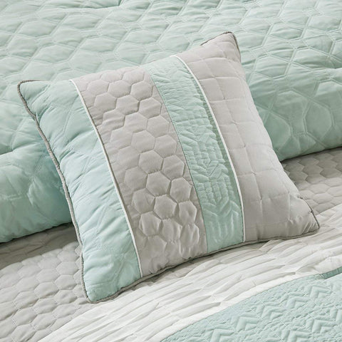 Madison Park Roslynn Queen Size Bed Comforter Set Bed in A Bag - Aqua, Striped – 8 Pieces Bedding Sets – Microcell Bedroom Comforters
