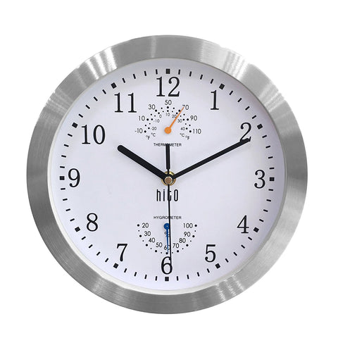 HITO Silent Non-ticking Wall Clock- Aluminum Frame Glass Cover, 10 inches (White)