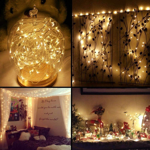 LE 100 LED 33ft Copper Wire String Lights, Warm White Starry Fairy String Lights, Waterproof Firefly Lights Decoration Light for Home Party Valentine's Day Wedding, UL Power Adaptor Included