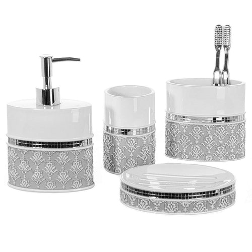 Creative Scents 4 Piece Bathroom Accessory Set - Gift Package - Soap Dish and Dispenser, Toothbrush Holder, and Tumbler Cup - Mirror Damask Style
