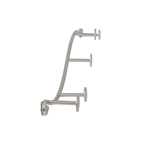 Spectrum Diversified Sweep Wall Hook Rack, 5 Hook Single Rack, Satin Nickel