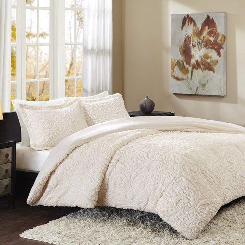 Madison Park Norfolk King Size Bed Comforter Set - Ivory, Paisley – 3 Pieces Bedding Sets – Plush Bedroom Comforters