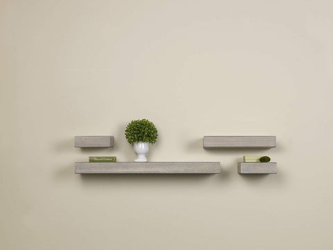 MELANNCO Floating Wood Shelves, Set of 4, Gray