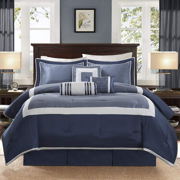 Madison Park Genevieve Queen Size Bed Comforter Set Bed in A Bag - Navy, Pieced – 7 Pieces Bedding Sets – Faux Silk Bedroom Comforters