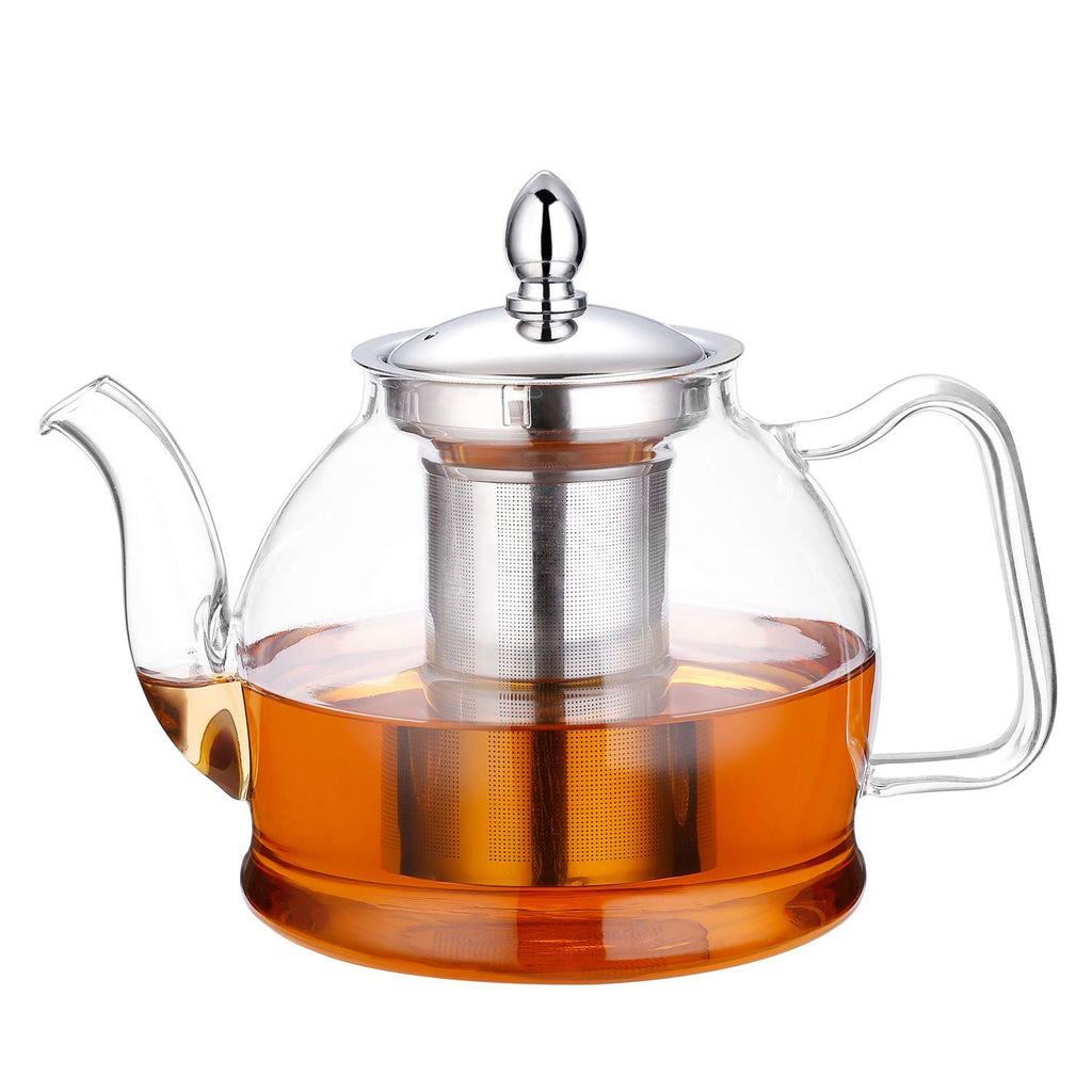 Hiware 1000ml Glass Teapot with Removable Infuser, Stovetop Safe Teapot, Blooming and Loose Leaf Tea Pots