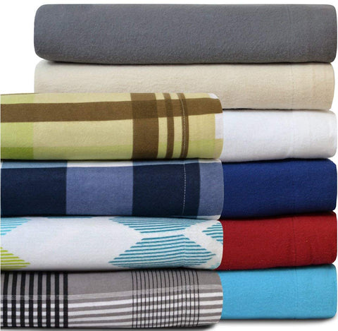 100% Cotton Velvet Flannel Sheet Set - Extra Soft Heavyweight - Double Brushed Flannel - Deep Pocket (Twin, Dark Blue)