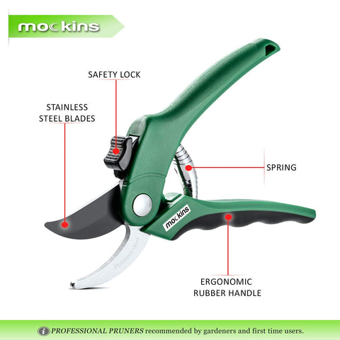 Mockins Professional Garden Bypass Pruning Shears, Tree Trimmers Secateurs, Hand Pruner, Stainless Steel Blades| 8 mm Cutting Capacity