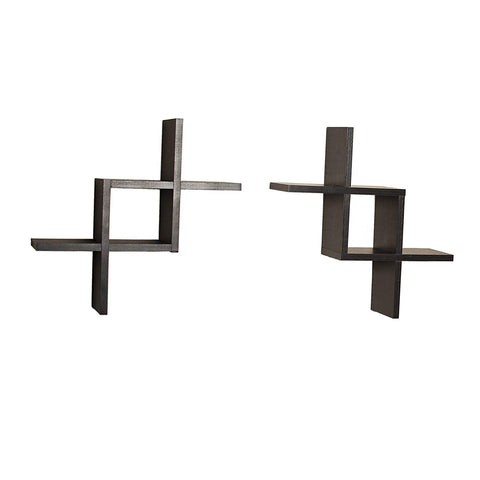 Danya B FF2513B Decorative Wall-Mounted Floating Reversed Criss-Cross Shelves (Set of 2) - Black