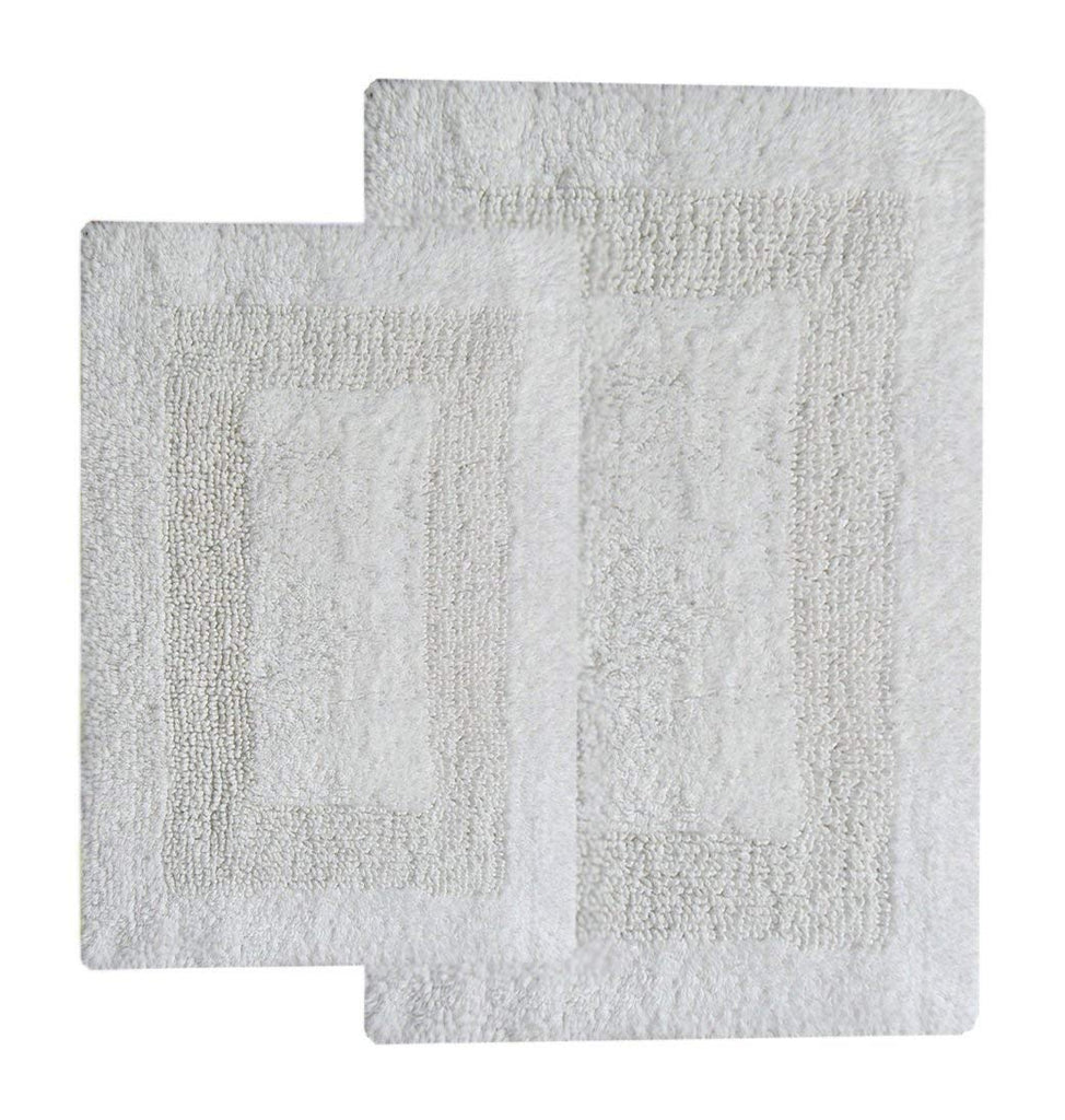 "Chardin home 2 Piece Arizona Reversible Bath Rug Set (21""x34"" & 17""x24"") White"