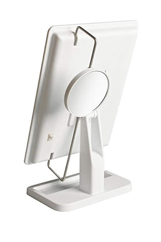 Jerdon JS811W 8-Inch by 11-Inch Rectangular LED Lighted Vanity Mirror with 10x Magnification Spot Mirror, White Finish