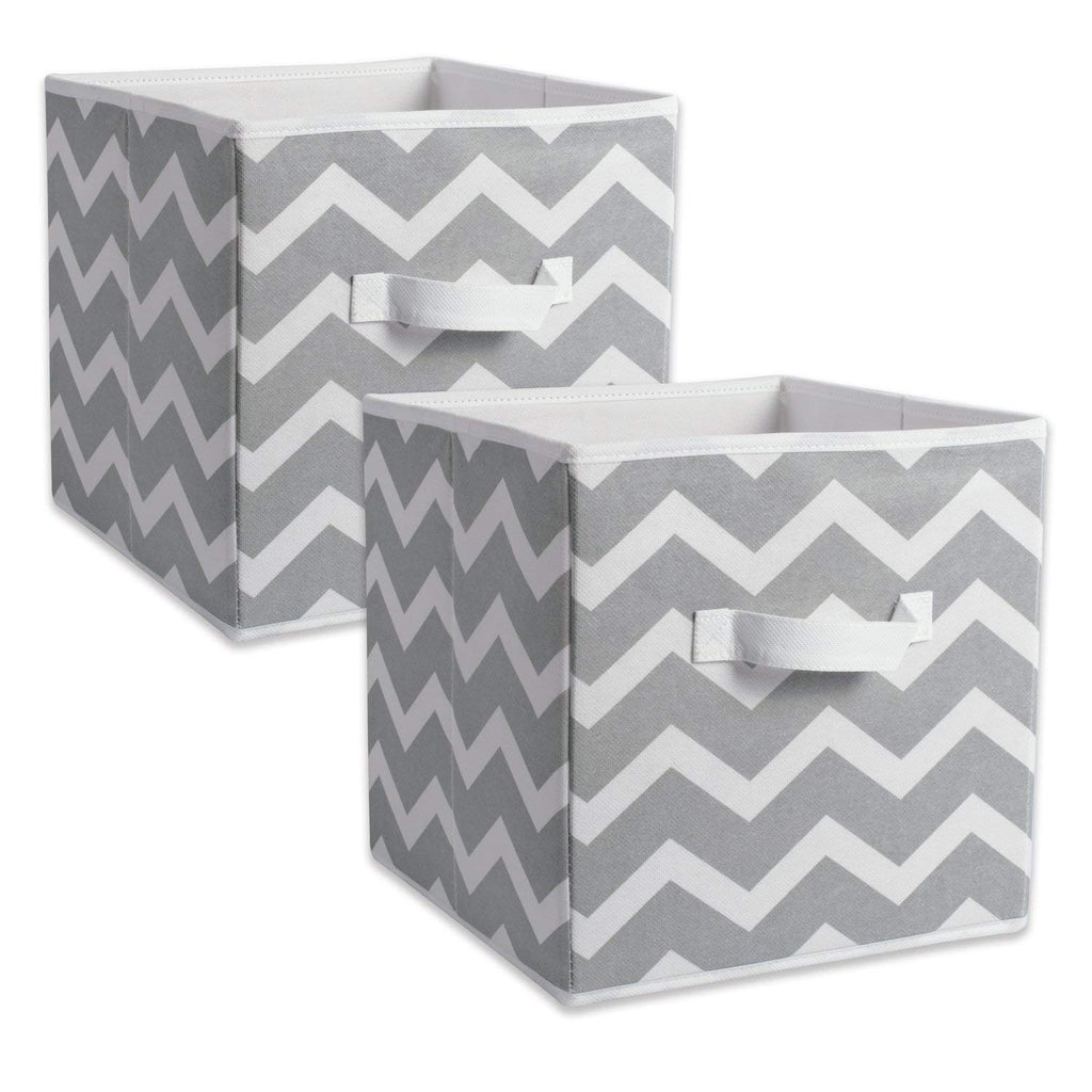 "DII Fabric Storage Bins for Nursery, Offices, & Home Organization, Containers Are Made To Fit Standard Cube Organizers (11x11x11"") Chevron Gray - Set of 2"