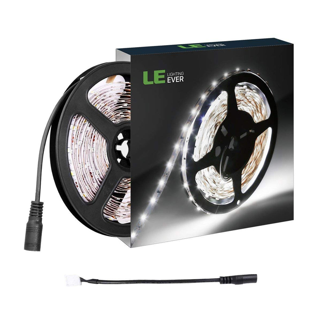 LE 16.4ft LED Flexible Light Strip, 300 Units SMD 2835 LEDs, 12V DC Non-waterproof, Light Strips, LED ribbon, DIY Christmas Holiday Home Kitchen Car Bar Indoor Party Decoration (Daylight White)
