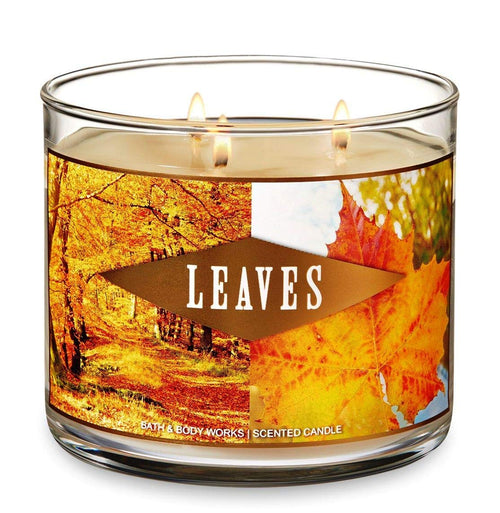 Bath and Body Works Leaves Candle - Large 14.5 Ounce 3-wick Limited Edition Fall Autumn Fragrance
