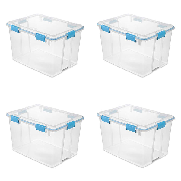 Sterilite 19384304 80 Quart/76 Liter Gasket Box, Clear Lid & Base w/ Blue Aquarium Latches & Gasket, 4-Pack