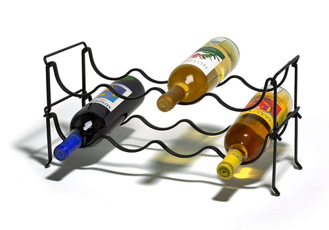 Spectrum Diversified Ashley Stacking 4 Bottle Wine Rack, Black