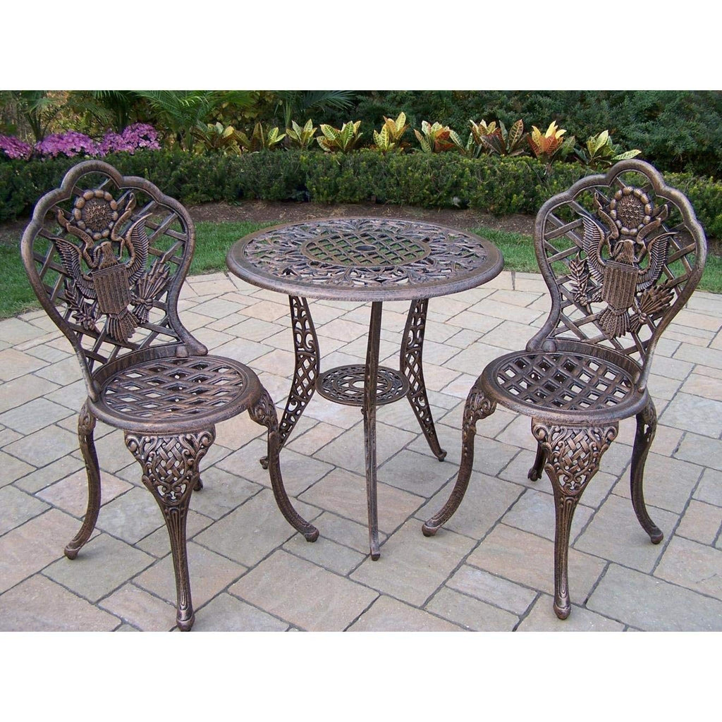 Oakland Living American Eagle Cast Aluminum 24-Inch Glass Top Table with 3-Piece Bistro Set