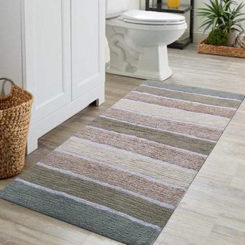 "Chardin home Cordural Stripe Bath Runner, Gray/Beige with Latex Spray Non-Skid Backing, 24"" W x 60'' L"