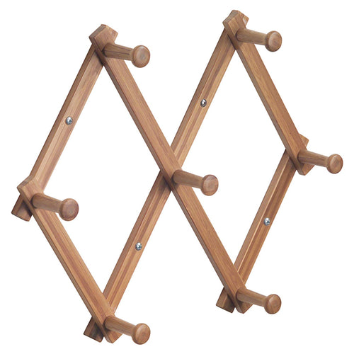 InterDesign Formbu Wall Mount Expanding Storage Rack – 7 Hallway Hanging Hooks for Jackets, Coats, Hats and Scarves, Natural Bamboo