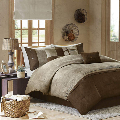 Madison Park Boone King Size Bed Comforter Set Bed in A Bag - Brown, Textured Print – 7 Pieces Bedding Sets – Micro Suede Bedroom Comforters