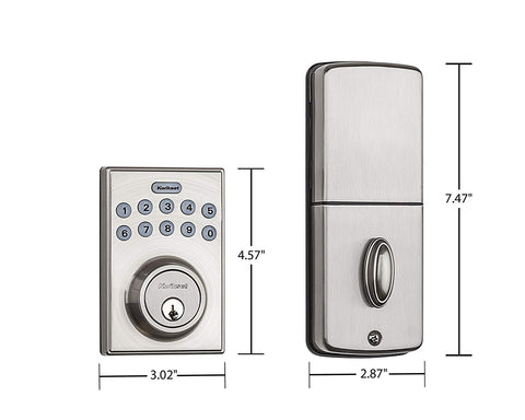 Kwikset 92640-001 Contemporary Electronic Keypad Single Cylinder Deadbolt with 1-Touch Motorized Locking, Satin Nickel