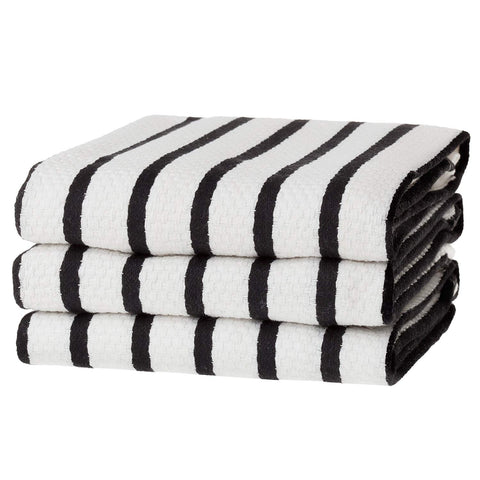 KAF Home Basket Weave Kitchen Towels, White with Stripes, Set of 3, 100% Cotton, Over-sized & Super Absorbent