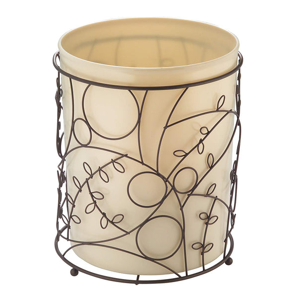 InterDesign Twigz Wastebasket Trash Can - Vanilla/Bronze