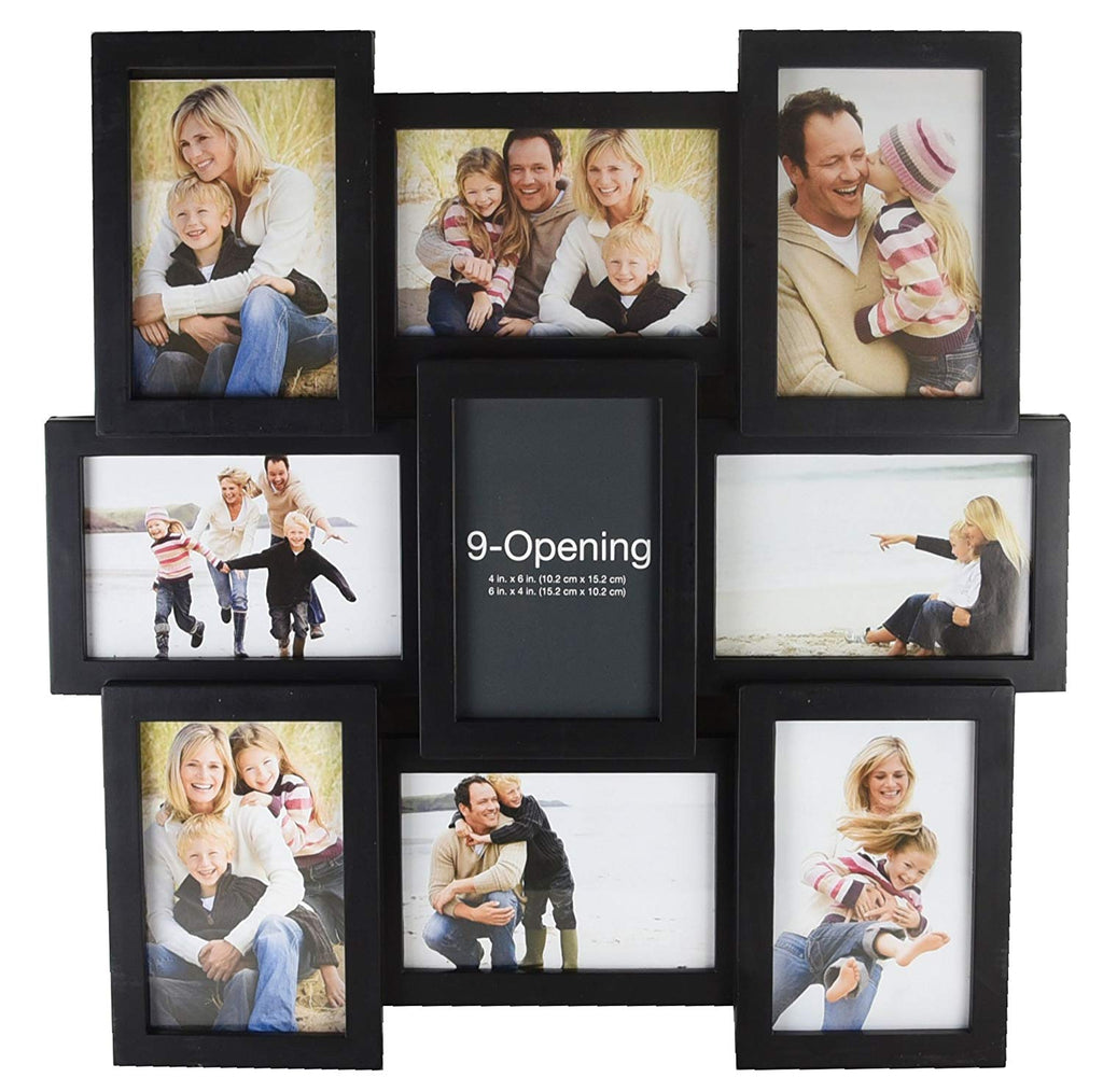 MELANNCO 51844034 9-Opening Puzzle Collage Picture Frame, Black