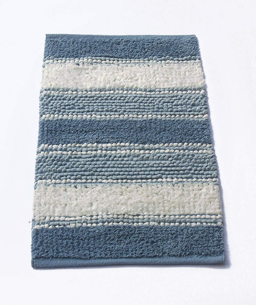 "Chardin home Newport Soft and Durable Tissue/Chenille Rug, Cotton Poly Blended Bathroom Mat or Accent Rug, 20"" W x 32"" L, Blue/White"